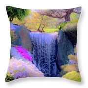 Waterfall Spring Colors Throw Pillow