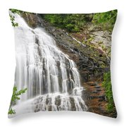 Waterfall With Green Leaves Throw Pillow