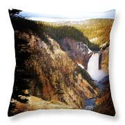 Waterfall Yellowstone 2 Throw Pillow