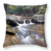 Waterfalls At Roaring River Stone Mountain Throw Pillow