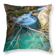 Waterfalls In The Nature Reserve Urederra Throw Pillow