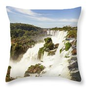 Waterfalls On Iguazu River Throw Pillow