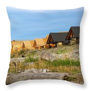 Waterfront Condominiums On The Beach Of Semiahmoo Bay Throw Pillow