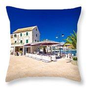 Waterfront Promenade Og Town Primosten Throw Pillow