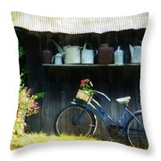 Watering Cans And Gerbera Daisies Throw Pillow by Stephanie Calhoun