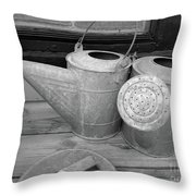 Watering Cans And Tubs B  W Throw Pillow