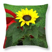 Watering With Sunflower Throw Pillow