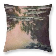 Waterlilies With Weeping Willows Throw Pillow