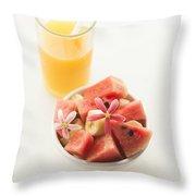 Watermelon And Banana Fruit Salad With Orange Juice Throw Pillow