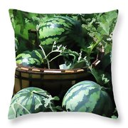 Watermelon In A Vegetable Garden Throw Pillow by Lanjee Chee
