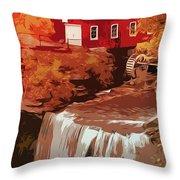 Watermill In Autumn Throw Pillow