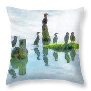 Watersky Birds Throw Pillow