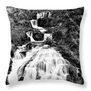 Water Slide Waterfall Bw Throw Pillow