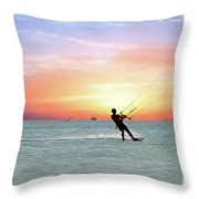 Watersport On Thecaribbean Sea At Aruba Island At Sunset Throw Pillow
