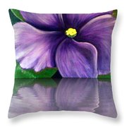 Watery African Violet Reflection Throw Pillow