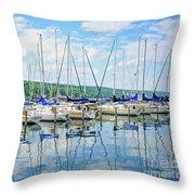 Glen Harbour Marina Throw Pillow