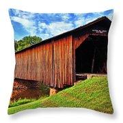 Watson Mill Covered Bridge 040 Throw Pillow
