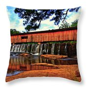 Watson Mill Covered Bridge 042 Throw Pillow