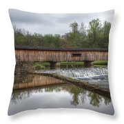 Watson's Mill Covered Bridge Throw Pillow