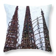Watts Towers 2 - Los Angeles Throw Pillow