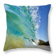 Wave Breaking At Makena Throw Pillow
