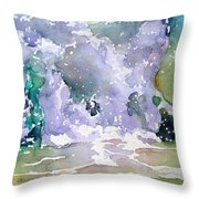 Wave Breaking Into Green Throw Pillow
