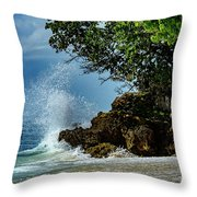Wave Crashing Punta Cana Throw Pillow