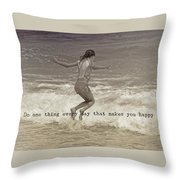 Wave Jump Quote Throw Pillow