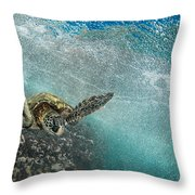 Wave Rider Turtle Throw Pillow
