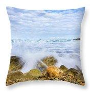 Wave Splash Throw Pillow by Gary Gillette