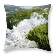 Wave Splash On The Green Rock Throw Pillow