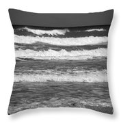 Waves 3 In Bw Throw Pillow