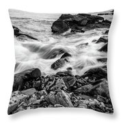 Waves Against A Rocky Shore In Bw Throw Pillow by Doug Camara