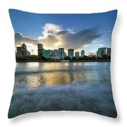 Waves Along Willamette River In Portland Oregon Throw Pillow