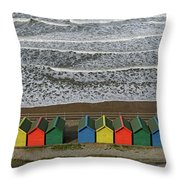 Waves And Beach Huts - Whitby Throw Pillow