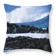 Waves And Rocks Throw Pillow