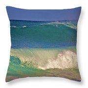 Waves And Surfer In Morning Light 2 Throw Pillow