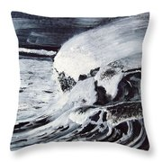 Waves At Night Throw Pillow