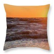 Waves At Sunset Throw Pillow