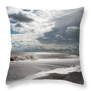 Waves Breaking Against The Beach And Cloud Streaming Above  Skegness Lincolnshire England Throw Pillow