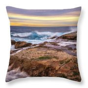 Waves Breaking Up On Rocks In Sydney Australia Throw Pillow