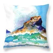 Waves Bursting On Rocks Throw Pillow