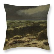 waves by Gustave Courbet Throw Pillow
