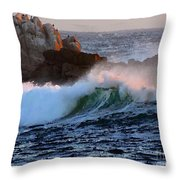 Waves Crash Against The Rocks Throw Pillow