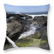Waves Crash Ashore On A Lava Bed Throw Pillow