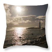 Waves Crash Into A Jetty Sending Water Throw Pillow