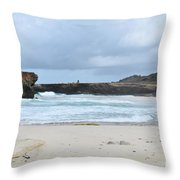 Waves Crashing Ashore With Large Rock Formations Throw Pillow