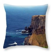 Waves Crashing At Cliffs Of Moher Ireland Throw Pillow