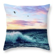 Waves Crashing At Sunset Throw Pillow