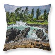 Waves Crashing Kawee Point Throw Pillow